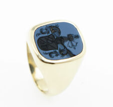 Seal Ring Men's Ring Agate Lagenstein Coat of Arms 585 Yellow Gold 14 Carat