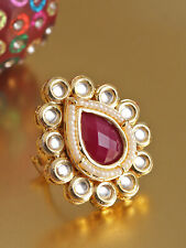 Bollywood Actress Gold Plated Kundan Red Stone White Small Pearls Studded Ring