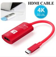 New USB 3.1 Type C USB-C to HDMI 4K HDTV Adapter Cable (Red & Silver)
