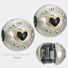 Authentic Pandora Sterling Silver & 14K Gold Family and Love Clips (2) 792110