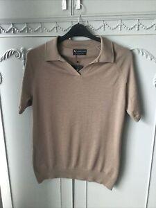 Tailored Athlete Size L Brown/mink Merino Wool Polo Shirt Bnwt