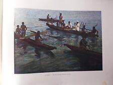 AUSTRALIE/Gravure 19°in folio couleur/Nouvelle- Guinée:Pirogues Papoues