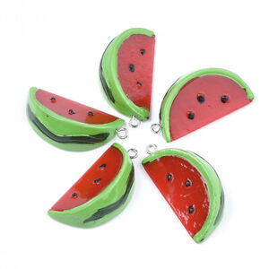 10pcsc Resin Fruit Pendants Red Watermelon Dangle Charms Hang Ornament 38~39mm