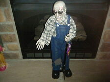 HALLOWEEN ZOMBIE FARMER GRAVE DIGGER 2.5' FT W/ BLINKING RED LITE EYES MOTION!!!