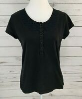 White Stag Top Womens Medium M Black Solid Scoop Neck Cap Short Sleeve Blouse