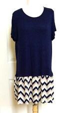 WOMEN *NEW PLUS SIZE XL SUMMER NAVY CHEVRON SCOOP NECK SHORT SLEE TOP DRESS NWOT