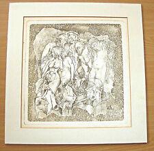 "Old engraving ""Nude scene from Greek Mythology"" signed, monogram lower right"