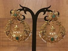 New Indian Ethnic Chand Bali Ring Jhumki Drop Down Moti Pearl Green Earring Set