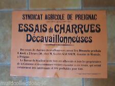 AFFICHE - 140617- PREIGNAC (Gironde) - Syndicat agricole - Essais de Charrues