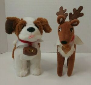 "Set 2 Christmas Elf on the Shelf PETS 7"" Saint Bernard & Reindeer Plush Stuffed"