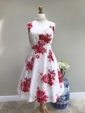 Laura Ashley Beautiful Red Rose Cream Pure Cotton Fit And Flare Dress Size 12