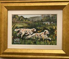 Original Signed Acrylic Painting - English Setters - Ooak Miniature Artwork
