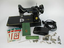 Vintage 1947 Singer Featherweight 221-1 Sewing Machine with Case and Accessories