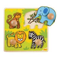 Bigjigs Toys My First Wooden Peg Puzzle (Safari) Chunky Jigsaw Educational