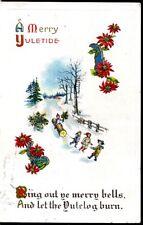 CHRISTMAS, A MERRY YULETIDE, CHILDREN PULLING LOG, EMBOSSED, VGC,   (541