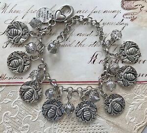 HONEY BEES Charm BRACELET Silver Crystal Glass Beads OOAK Handmade