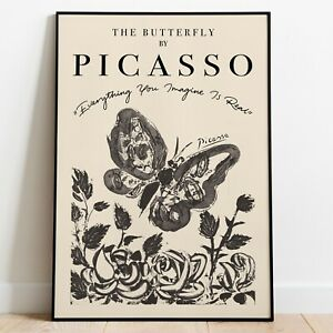 Picasso 'The Butterfly' Art Print, Pablo Picasso Wall Art, Art Exhibition Poster