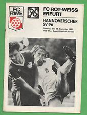 Orig.PRG 15.09.1987 BLANC ROUGE ERFURT - HANNOVER 96 RARETÉ ABSOLUE