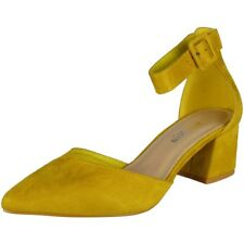 Womens Ankle Strap Shoes Ladies Faux Suede Buckle Chunky Low Heel Sandals Size Yellow UK 5 / EU 38 / US 7