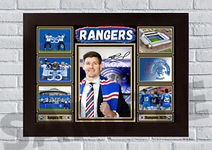 Glasgow Rangers FC 55 Champions 2021 A4/A3 Print/Framed Gift signed #105