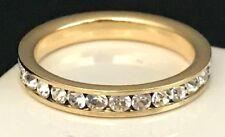 DESIGNER Gold Tone Ring Stackable Band Simulated Diamond Premier Fashion Size 5