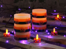 Flameless LED Halloween Wax Candles 2 Pack 5 Inch - Dim Bright Switch