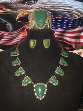 Vintage Iguala Mexico Sterling Silver Green Onyx Mask Necklace Bracelet Earrings