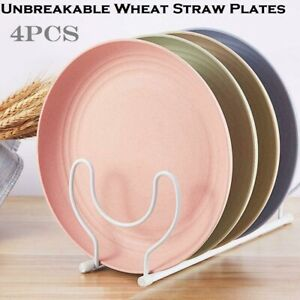 4pcs Dinner Plates Tableware 23cm Round Dishes Wheat Straw Unbreakable Crockery