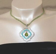 Faceted peridot briolette necklace turquoise inlay reversible  Jay King NWT
