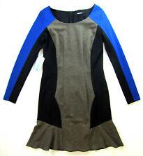 APRIORI Vestito 38 in a campana beige nero blu viscosa nuova con etichetta robe