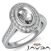 Halo Set Diamond Engagement VS1-VS2 Ring Oval Shape Semi Mount 14k W Gold 0.5Ct