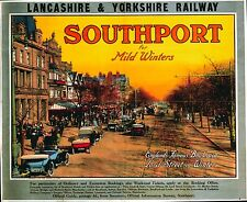 Vintage Rail travel railway poster  A4 RE PRINT Southport for Mild Winters