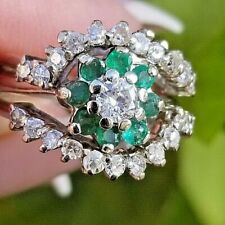 Vintage Diamond Solitaire Emerald 14k white gold ring/band
