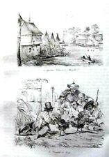 PHILIPPINES - MANILA - COCK FIGHT- COSTUMES Original 1835 Antique Print