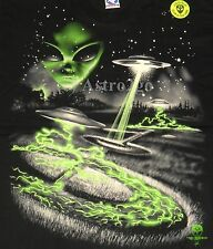 ALIEN INVADERS-Liquid Blue Roswell UFO 2 sided Glow Long Sleeve T shirt XL only