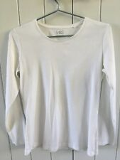 2x MARKS AND SPENCER à manches longues coton blanc t-shirts, taille UK 14