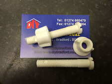 White Plastic Toilet Seat Hinge Fixing Bolts Pair