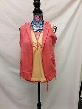 Oleg Cassini Sport Yellow Sleeveless Top W/Orange Vest 100% Cotton SZ L A124LC