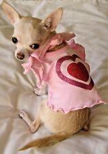Dog Clothes/Dog Dress/Chihuahua/Pink Ruffle Glitter Heart/Xs,S,M,L-Free Ship