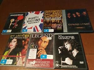 MUSIC DVD DVDS PUNK THE DOORS BOB MARLEY RADIOHEAD AMY WHITEHOUSE OTHERS