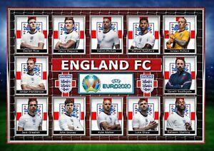 Euro 2020/21- England Football Club -  A4 Signed PHOTO PRINT MEMORABILIA