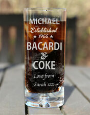 Personalised Engraved Boxed Bacardi & Coke Glass Birthday Xmas Gift Est. Star