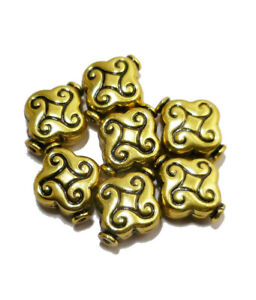 14 PCS 14X11MM SOLID COPPER NEPALESE BEAD ANTIQUE GOLD PLATED 527 FUL-782