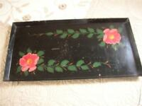 """Vtg Tray Black Floral Toleware LARGE HEAVY Coffee Table Rectangle 20""""x10"""" Shabby"""