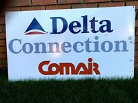 DELTA CONNECTION COMAIR AIR LINES AIRPORT METAL SIGN
