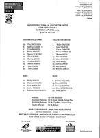 Teamsheet - Huddersfield Town v Colchester United 2004/5