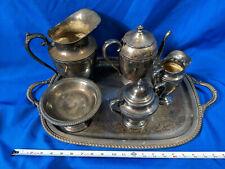 Antique Tea Coffee Set Silver on Copper Plate Heavy VTG LOT Reed Barton Wm