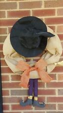 Burlap Halloween Wreath Witch Hat Broom and Witch Legs Orange Burlap Bow 27.5""