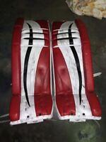 Used Keith Kinkaid Vaughn V6 Pro Stock Goalie Leg Pads! Devils MeiGray!