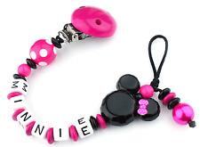 Schnullerkette mit Namen Minnie Mouse pink Nucki Mädchen Lange Namen Doppelname